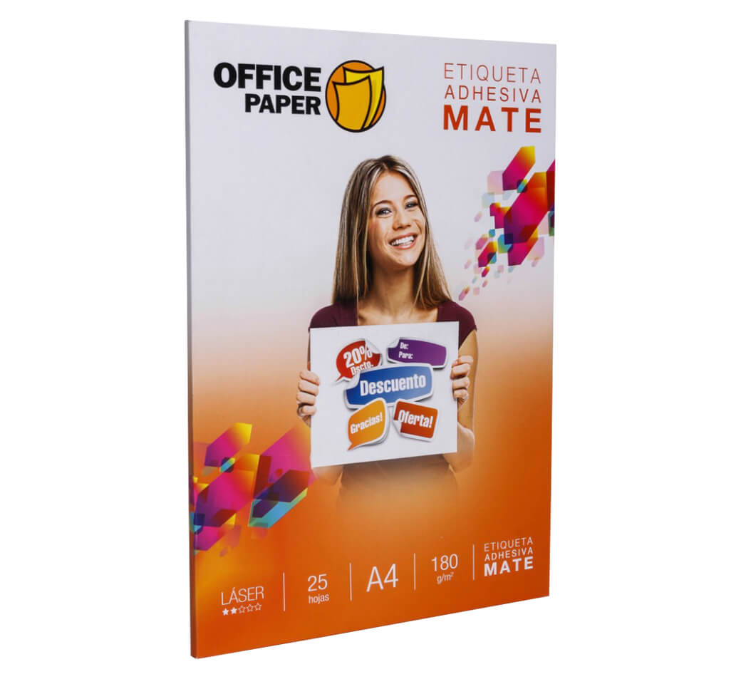 Papel Autoadhesivo A-4 x 25 Unid. Blanco Office Paper