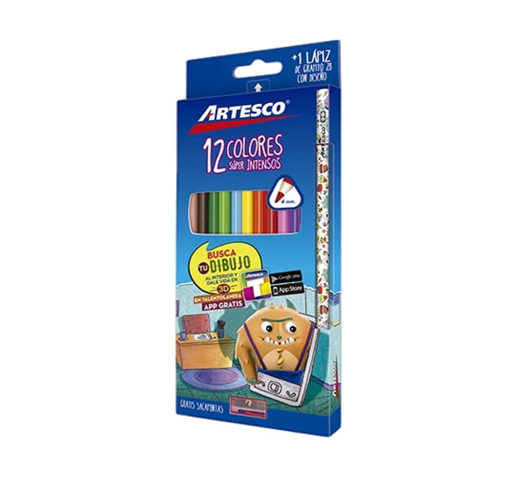 Colores Triangulares x 12 Largo + Lápiz + Tajador Artesco