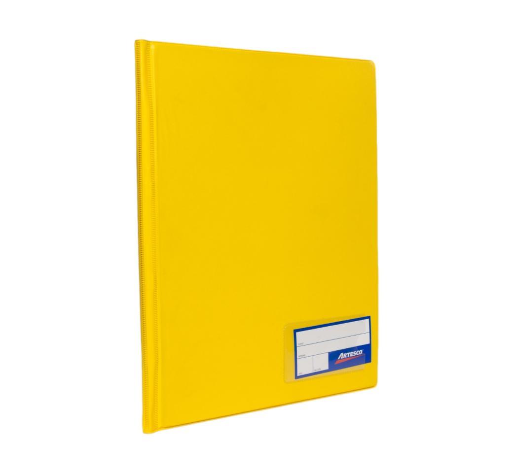 Folder Doble Tapa A4 con Fastener Gusano Amarillo Artesco