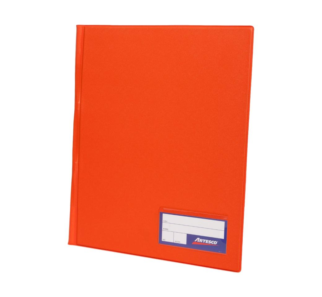 Folder Doble Tapa A4 con Fastener Gusano Naranja Artesco