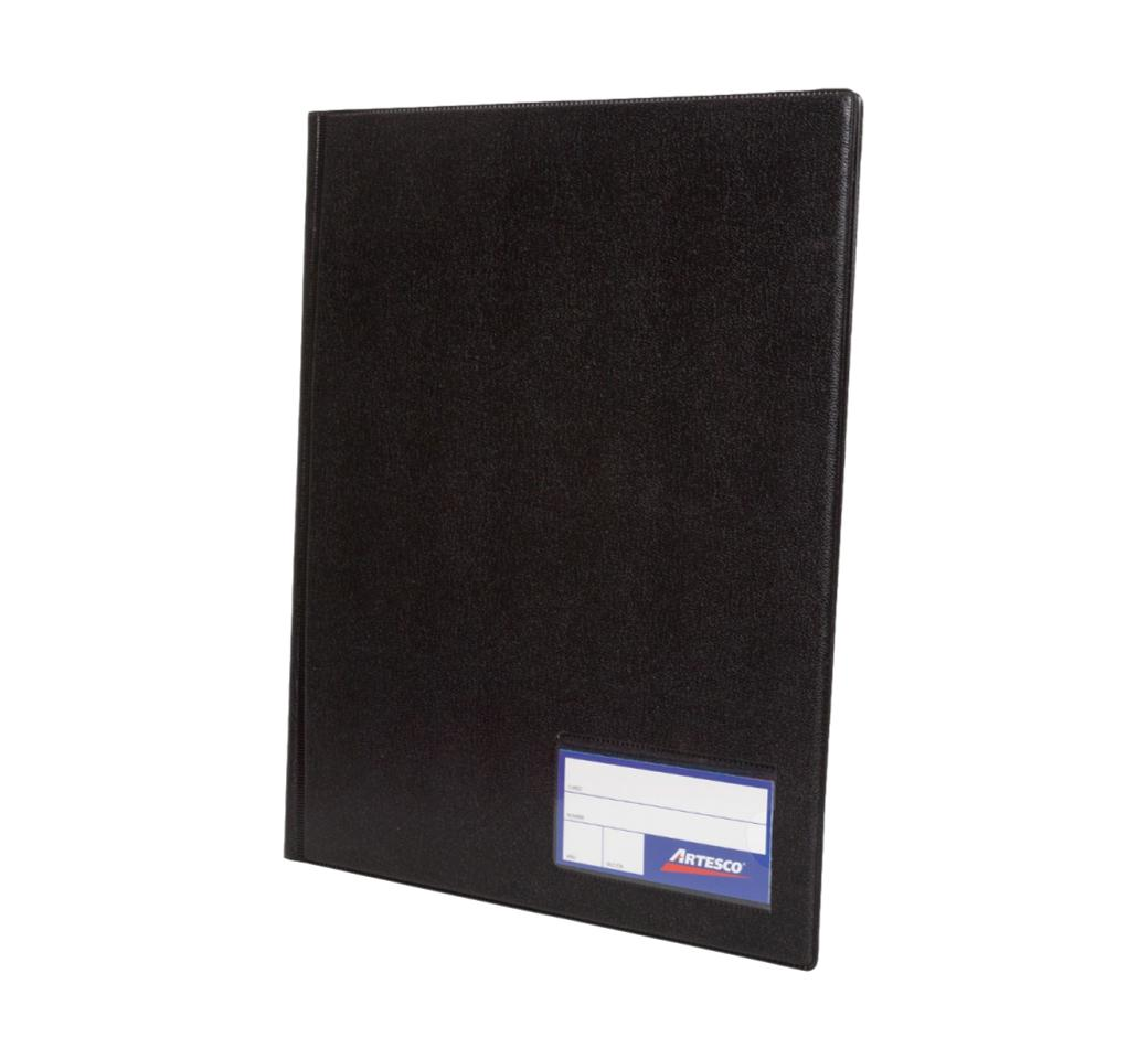 Folder Doble Tapa A4 con Fastener Gusano Negro Artesco