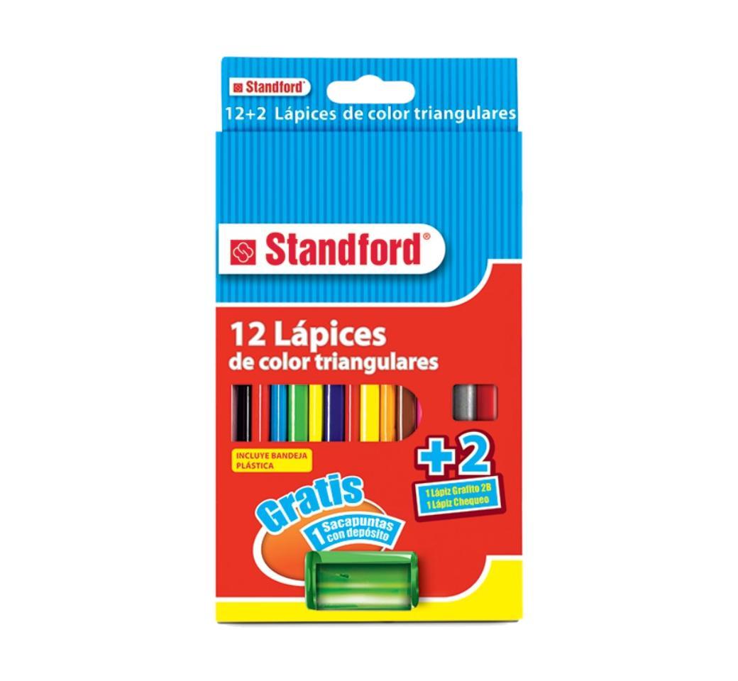 Colores Triangulares x 12 Largos + 2 Lapices + Tajador Standford