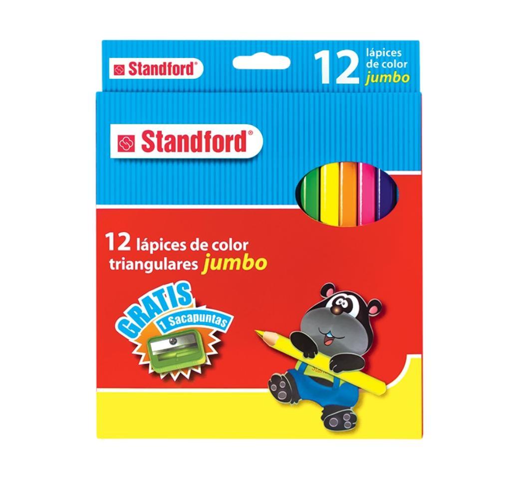 Colores Triangulares Jumbo x 12 + Tajador Standford