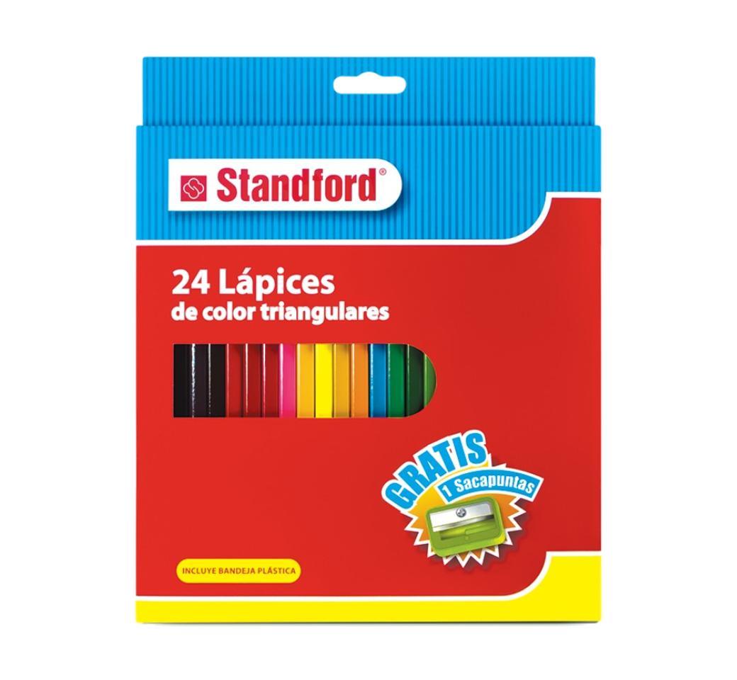 Colores Triangulares x 24 Largos + Tajador Standford