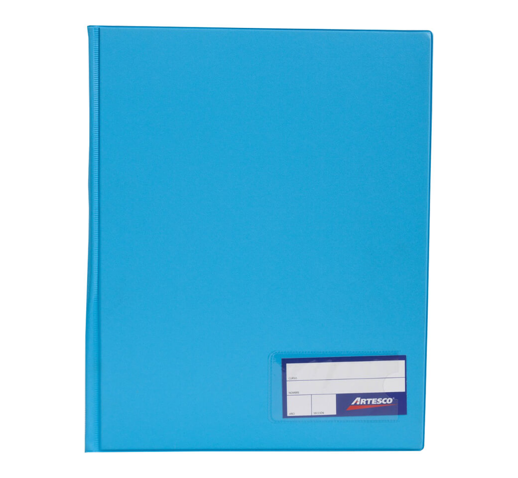 Folder Doble Tapa A4 con Fastener Gusano Celeste Artesco