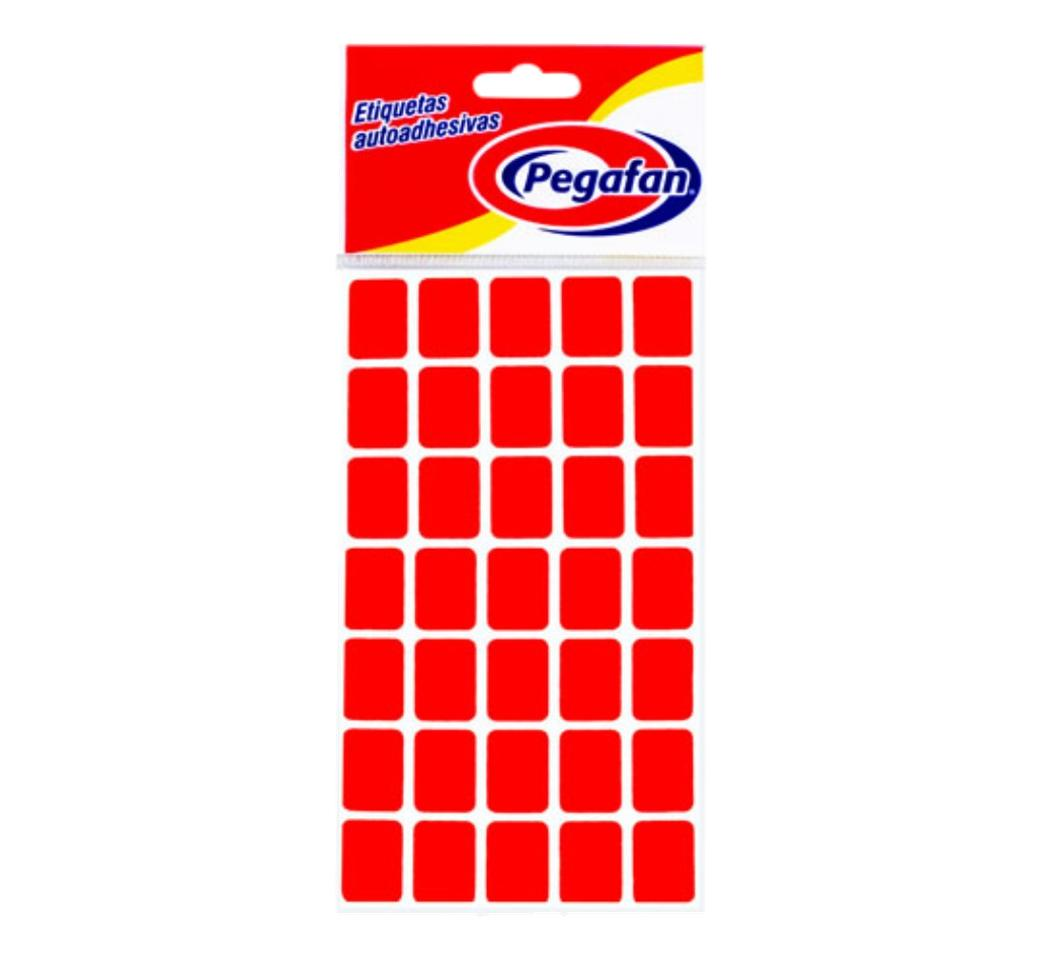 Etiquetas 19 x 13 mm Flourescente Rojo x 500 unid. Pegafan