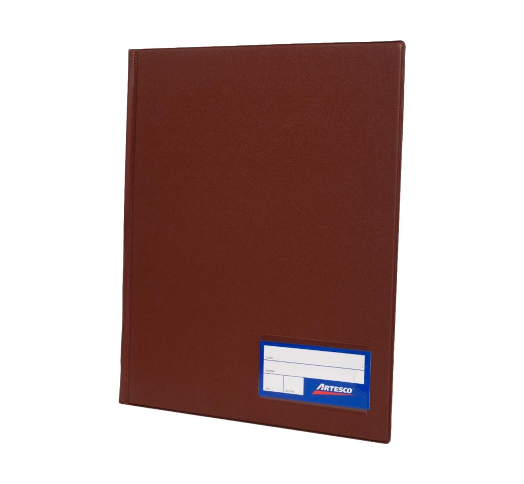 Folder Doble Tapa A4 con Fastener Gusano Marrón Artesco
