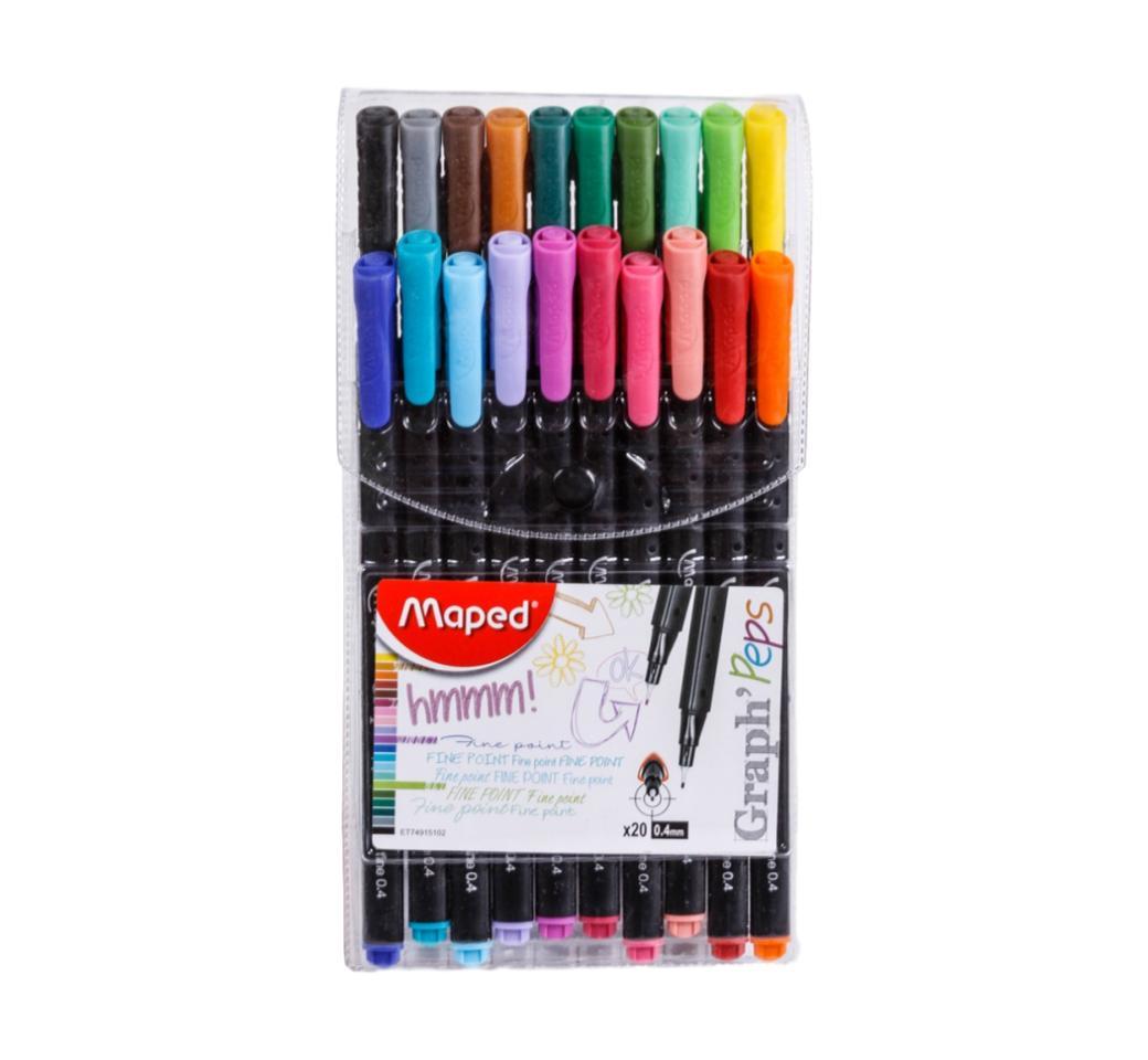 Plumón Finepen Estuche x 20 Colores Graph Peps Maped