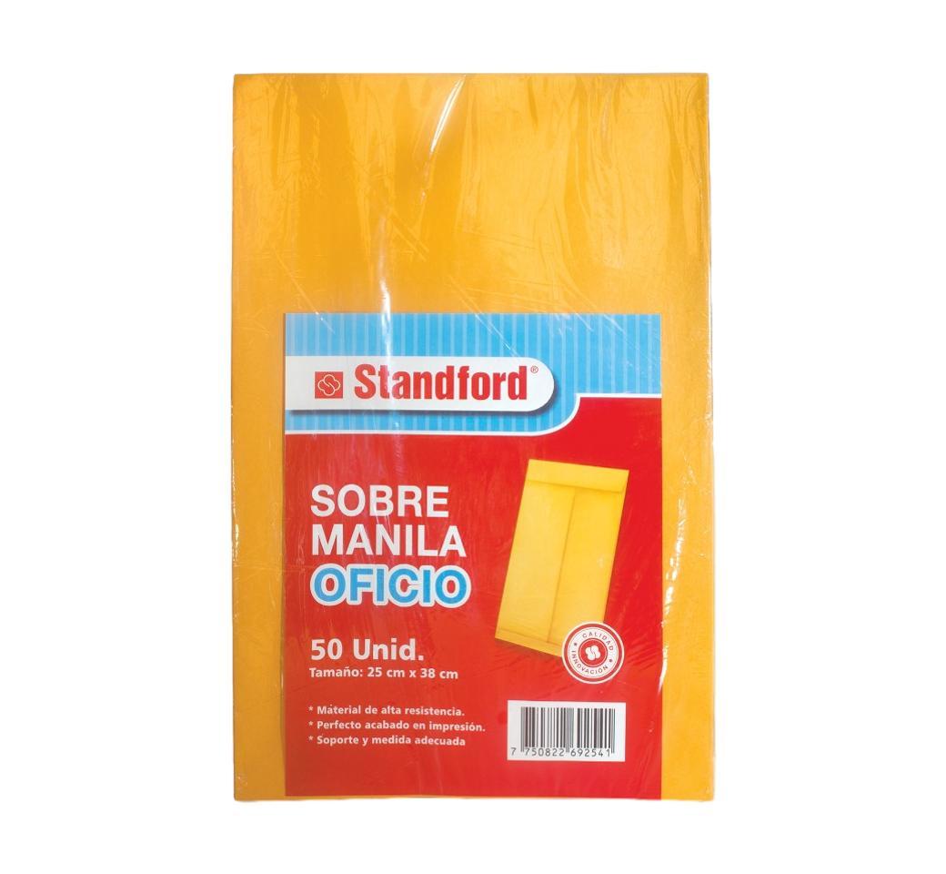 Sobre Manila Oficio 75 gr pqt. x 50 Unid. Standford