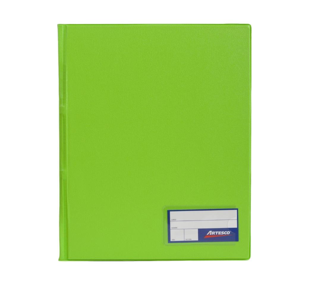 Folder Doble Tapa A4 con Fastener Gusano Verde Limón Artesco