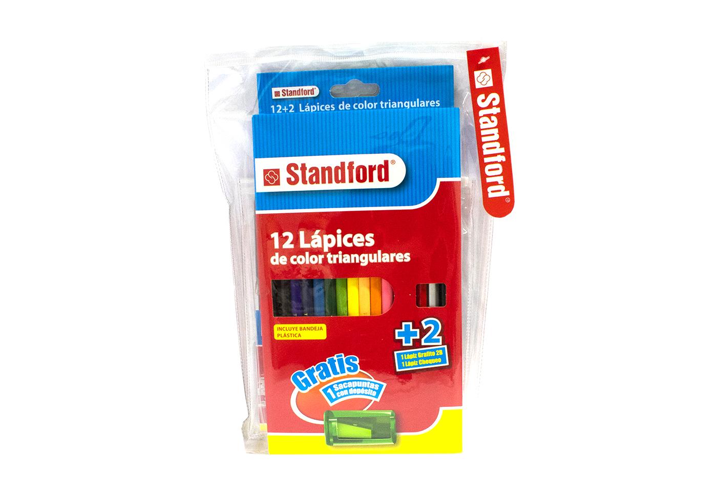 Paquete Escolar Colores Standford x 12 + Plumones Junior