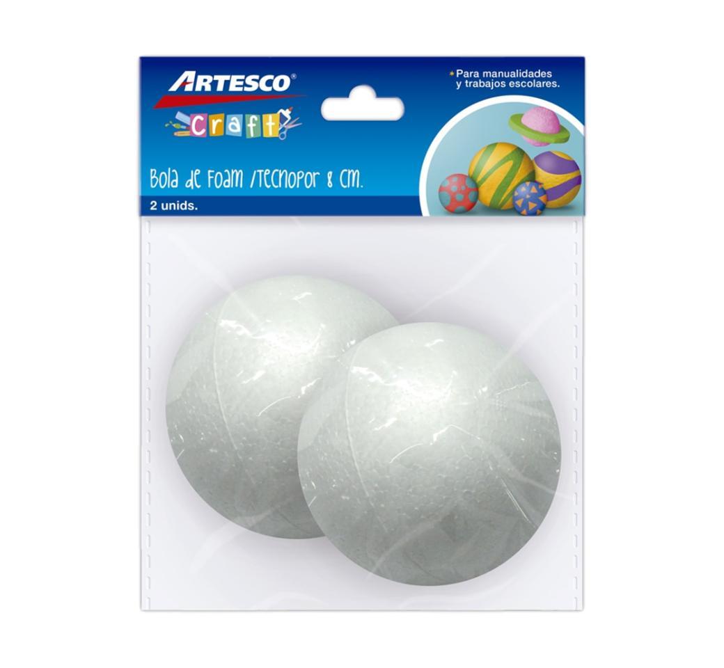 Bola de Tecnopor 8 cm Bolsa x 2 unid. Artesco