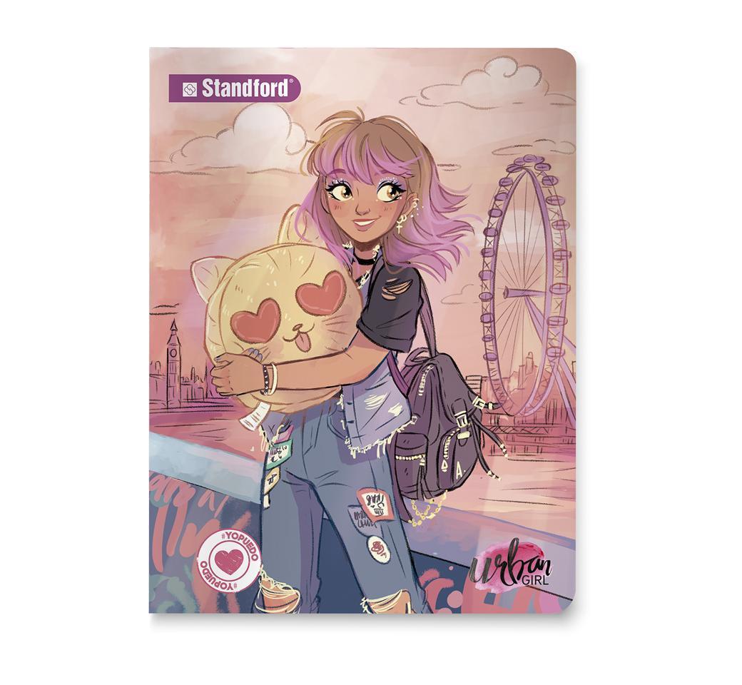 Cuaderno Deluxe Cuadriculado Urban Girls  Juegos A4 x 92 Hojas Standford