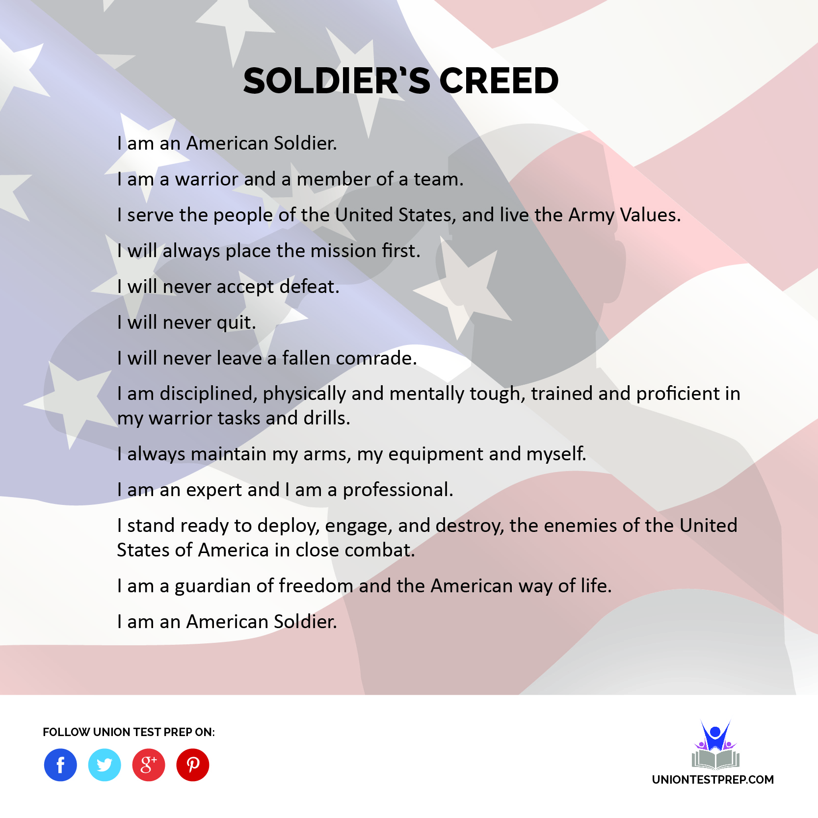 soldiers creed Currently, most of the military shirts available are not creative enough and are uninspiring most of those t-shirts are made over seas in foreign countries, primarily the middle east and southeast asia.