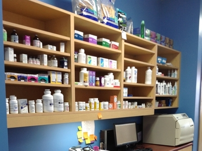 shelves of medicine in veterinary clinic