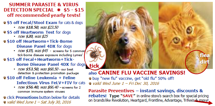parasites,heartworm,flea,tick,specials,coupons,vax