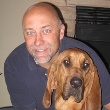 Dr. Bill Rohn with Binx the bloodhound