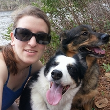 Dr. Alicyn Cross with her dogs Lela and Jasmine