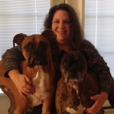 Sandi and her 2 boxers, Titus and Stormi.