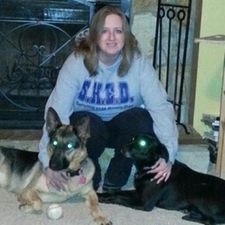 Clarissa with her dogs Carley and Raven