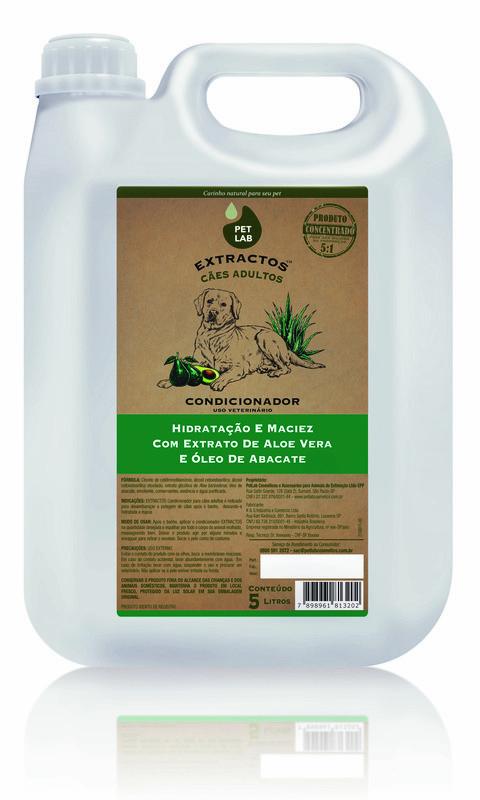 PetLab Extractos - Condicionador para cães adultos - Abacate e Aloe Vera - 5 Litros