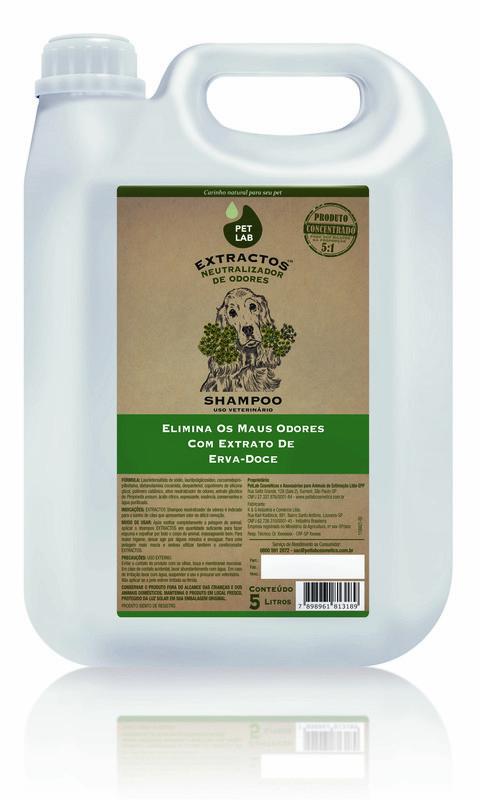 PetLab Extractos - Shampoo Neutralizador de Odores para cães - Erva Doce - 5 Litros