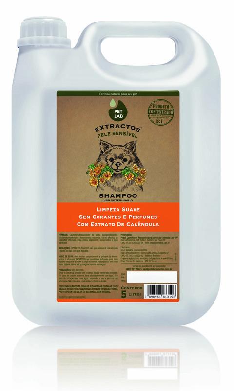 PetLab Extractos - Shampoo para cães com pele sensível - Calêndula - 5 Litros