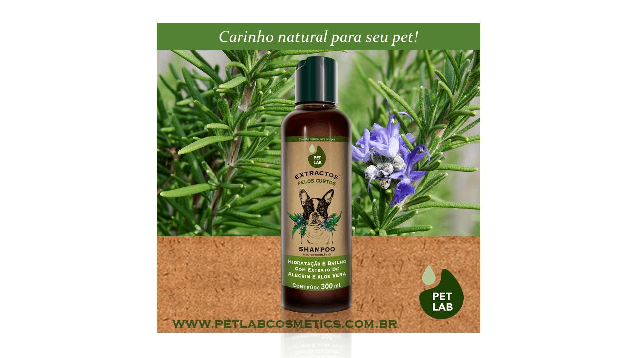 PetLab Extractos - Shampoo para cães com pelos curtos - Alecrim e Aloe Vera - 300 ml