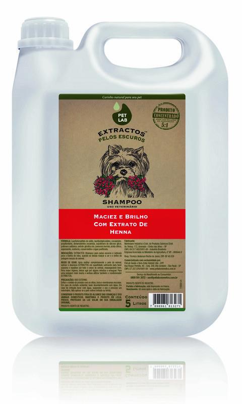 PetLab Extractos - Shampoo para cães com pelos escuros - Henna - 5 Litros