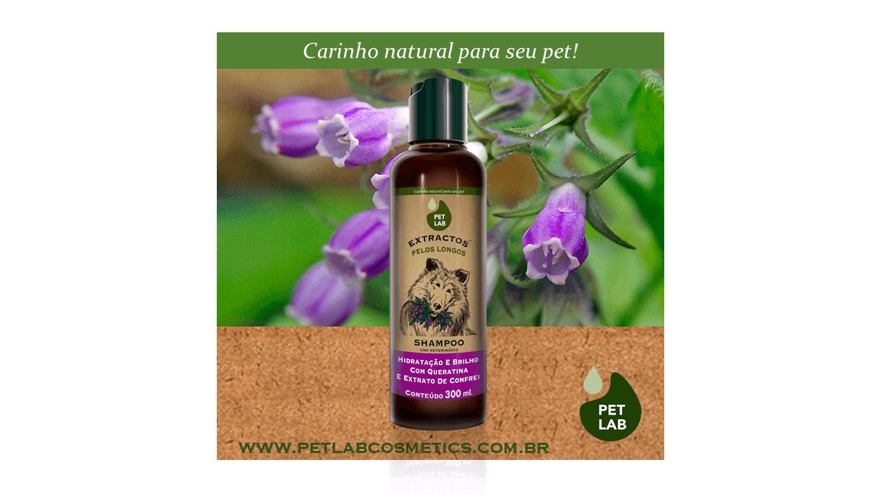 PetLab Extractos - Shampoo para cães com pelos longos - Confrei - 300 ml