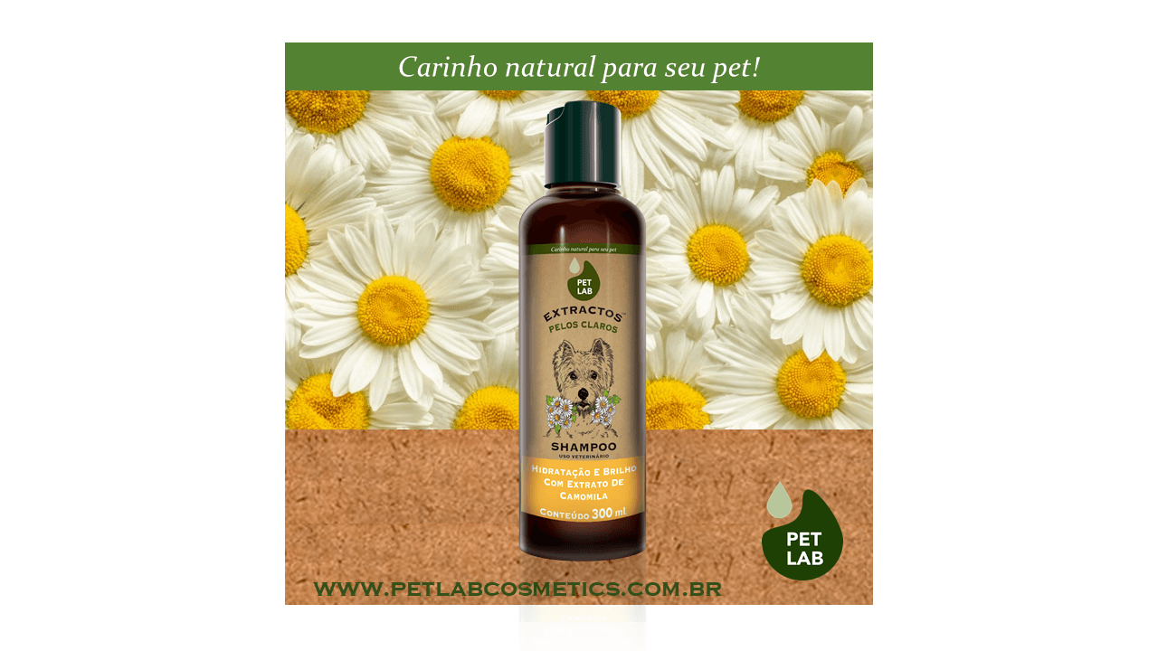 PetLab Extractos - Shampoo para cães pelos claros - Camomila - 300 ml