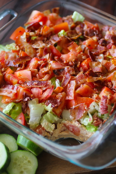 Skinny Poolside BLT Dip by Dashing Dish for Love Your Life Friday at karenehman.com. Click here for recipe.
