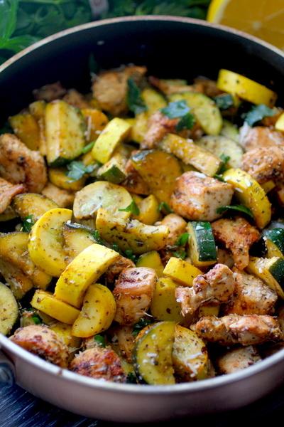 Lemon Parmesan Chicken & Zucchini Skillet Dinner