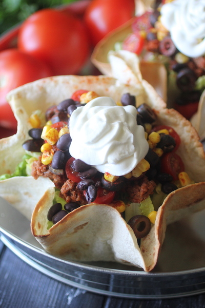 Clean Eating Taco Salad with a Baked Taco Bowl Shell by @dashingdish for #LoveYourLifeFriday at karenehman.com.