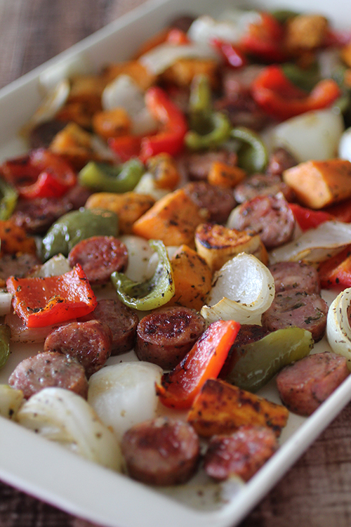 Roasted Sausage, Sweet Potatoes, and Peppers