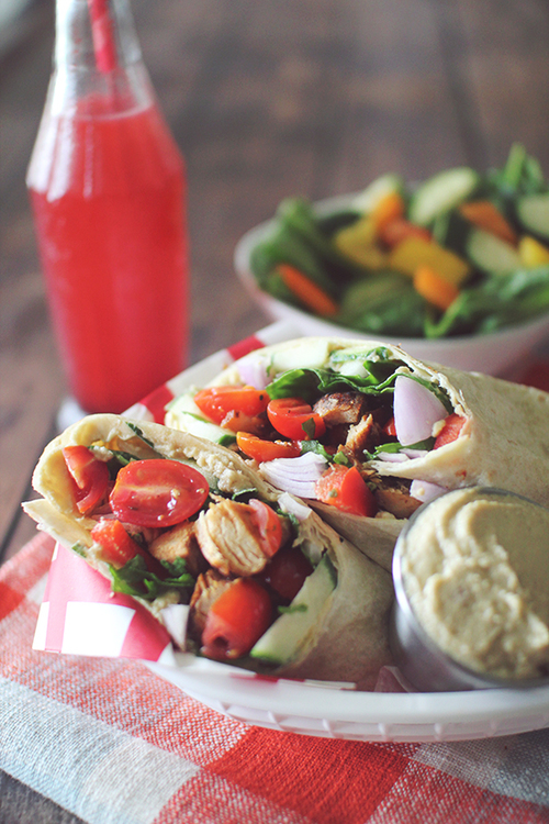 Greek Chicken Hummus Wraps