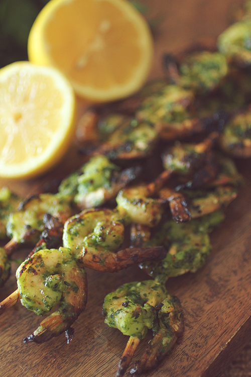 15 Minute Pesto Shrimp Kabobs