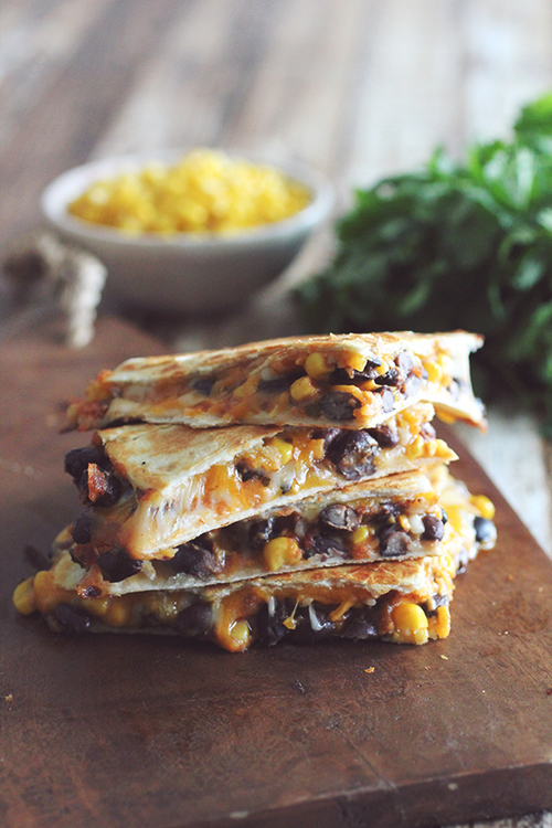10 Minute Black Bean and Corn Quesadillas