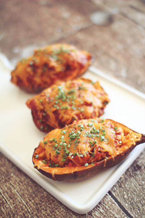 Barbecue Chicken Twice Baked Sweet Potatoes