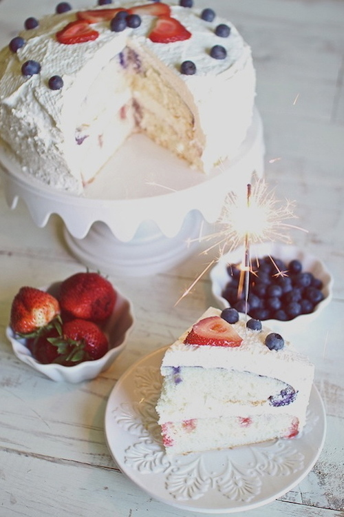 4th of July Strawberry Blueberry Poke Cake