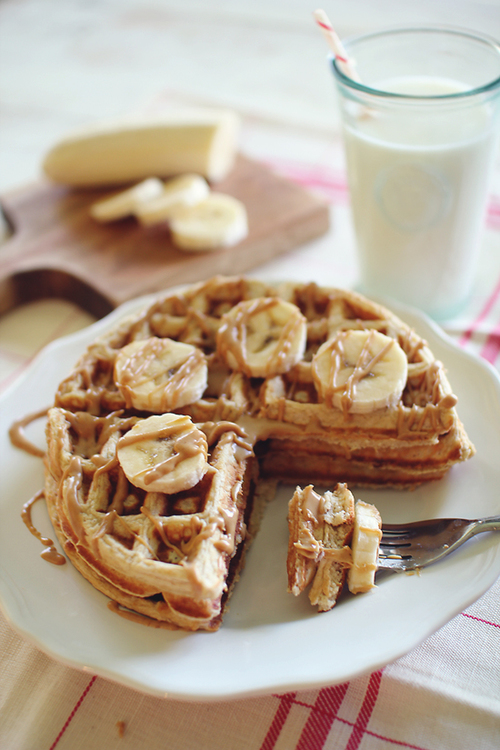 Banana Bread Protein Waffles with PB Syrup