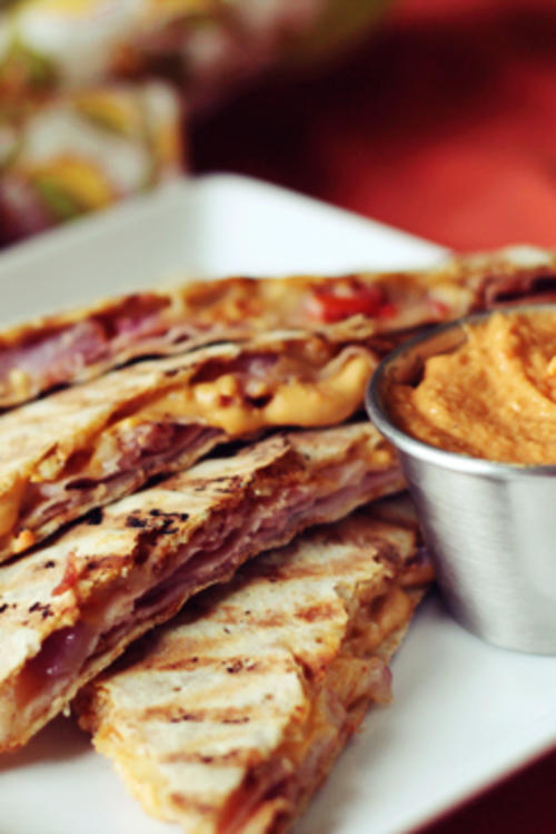 Ham and Cheese Quesadilla with Red Pepper Hummus