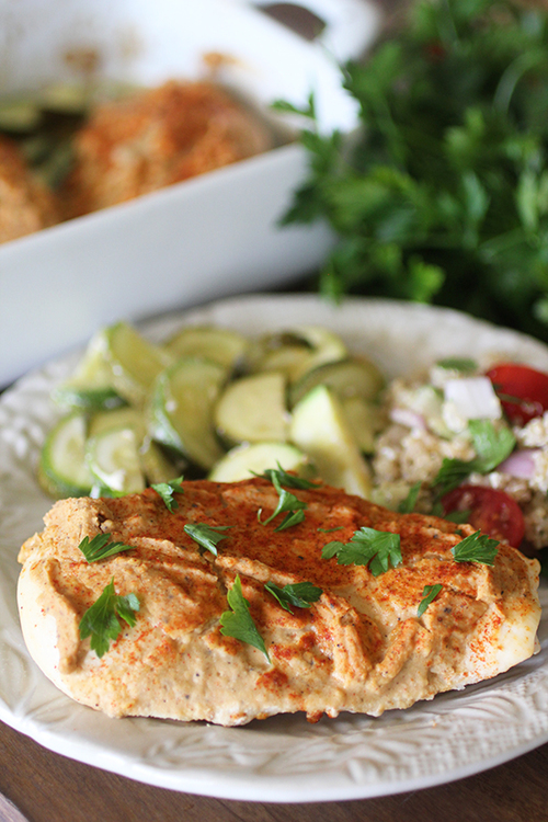 Hummus Baked Chicken and Veggies