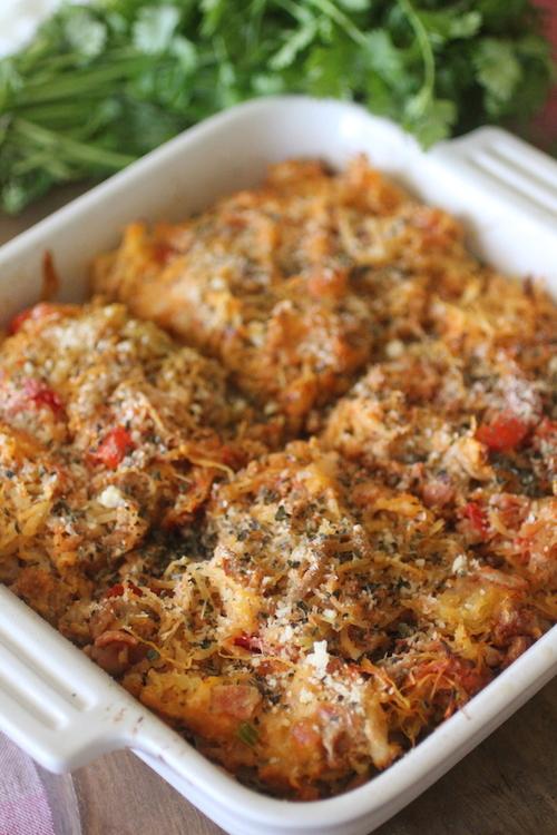 Italian Turkey Spaghetti Squash Bake | Dashing Dish