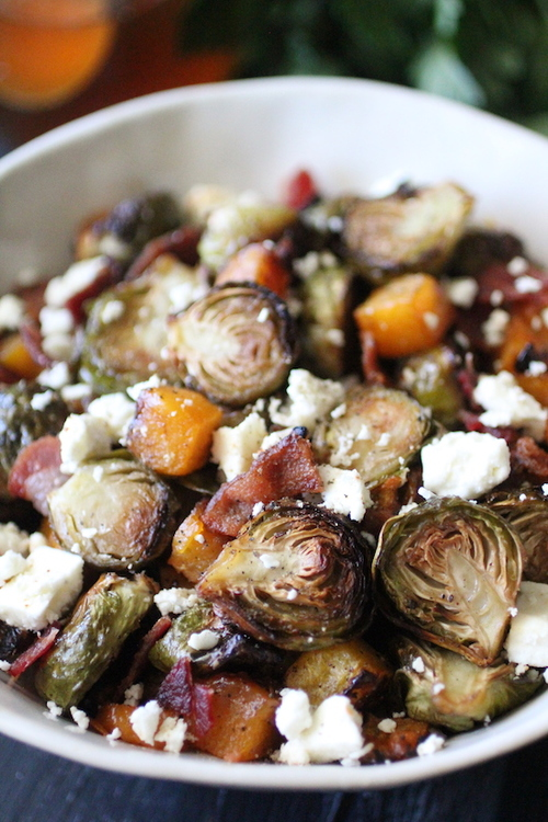Honey Roasted Brussels Sprouts and Butternut Squash with Feta and Bacon
