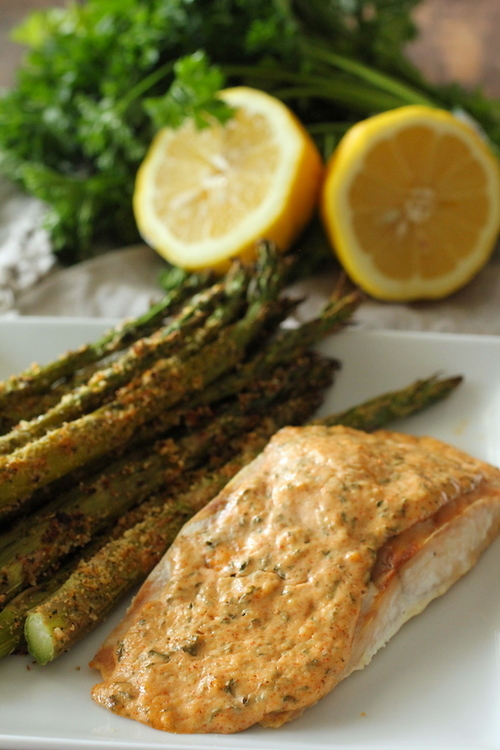 Garlic Parmesan Salmon and Asparagus