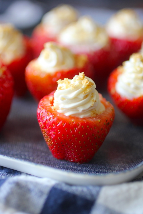 Skinny Cheesecake Stuffed Strawberries