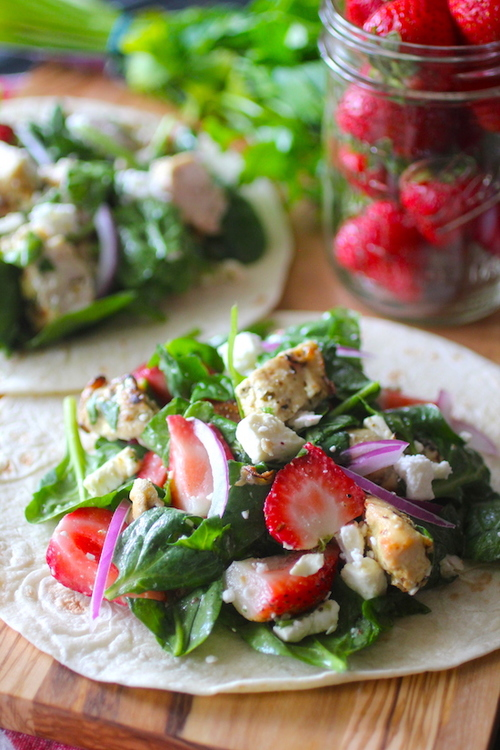 Strawberry Chicken & Spinach Wraps