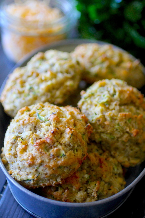 Low Carb Cheddar and Herb Zucchini Biscuits