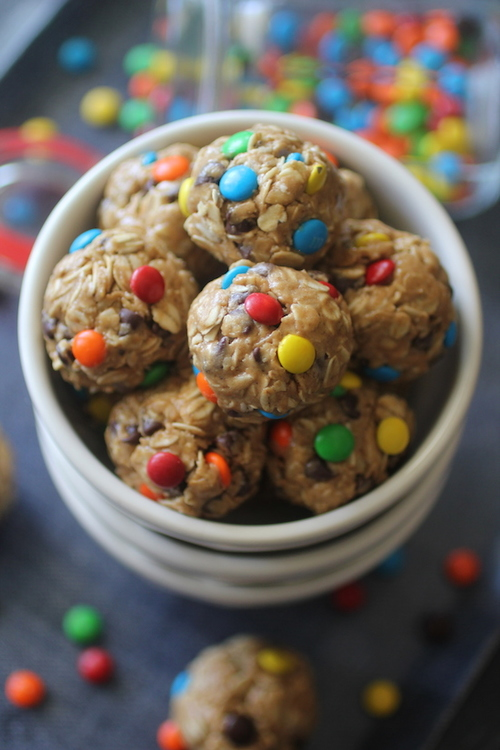 No Bake Monster Cookie Granola Bites